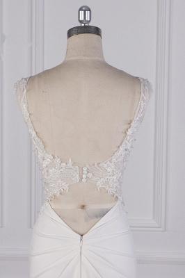 Elegant Sleeveless Ivory Satin Tulle Mermaid Wedding Dresses With Lace Appliques_7