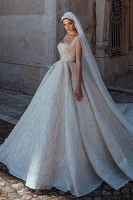 Gorgeous Straps Backless Crystal Sequined Pleated Ball Gown Wedding Dresses_1