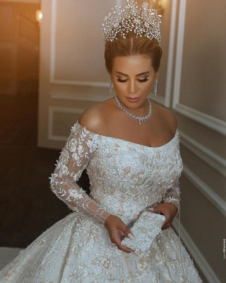Long Sleeve Off The Shoulder Sweetheart Applique Crystal Ball Gown Wedding Dresses_3