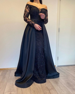 Off The Shoulder Backless  Long  Sleeve Lace Sequin A Line Prom Dresses With Sash_2