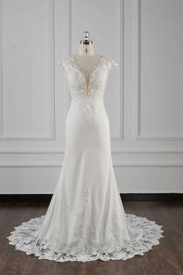 Graceful Sleeveless Tulle Sequins Mermaid Wedding Dresses With Lace Appliques_2
