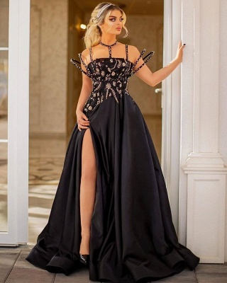 Strapless Sleeveless Site Slit Peated  Crystal A Line Prom Dress_2