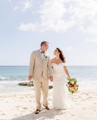 Elegant Sweetheart off The Shoulder Sheath Wedding Dresses | Backless Wedding Gown_3