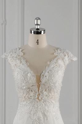 Elegant Ivory Chiffon V Neck Mermaid Wedding Dresses With Lace Appliques_5