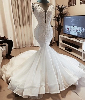 Sexy Deep V Neck Applique Beaded Fit And Flare Mermaid Wedding Dresses_2