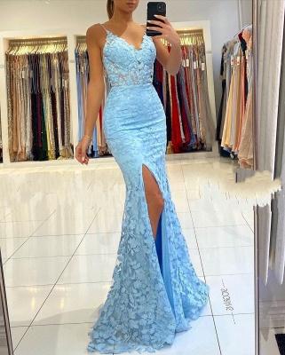 Spaghetti Strap V Neck Side Slit Lace Floor Length Mermaid Prom Dresses_2