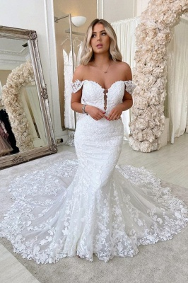 Unique Sweetheart Off The Shoulder Lace Mermaid Wedding Dresses_1