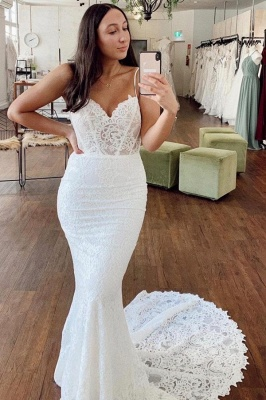 Spaghetti Strap Sweetheart Lace Fitted Mermaid Wedding Dresses_1