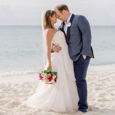 Sweetheart Sleeveless Applique A Line Boho Beach Wedding Dresses | Floor Length Bridal Gown_2