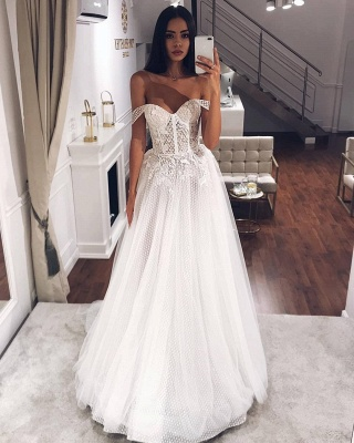 Sexy Off The Shoulder Applique Beaded Tulle Floor Length A Line Wedding Dresses_2