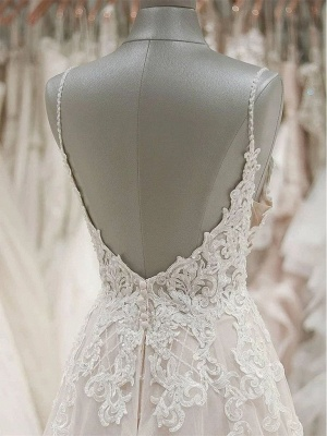 V Neck Spaghetti Strap Lace Wedding Dresses | A Line Wedding Gown_3