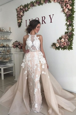 Sexy High Neck Open Back Floral Crystal Pearls Sash Detachable Skirt Sheath Wedding dresses_1