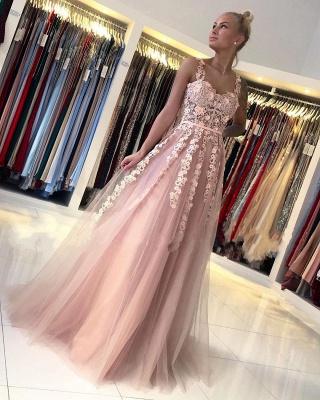 Spaghetti Strap Backless Applique Sash  Floor Length A Line Prom Dresses_2