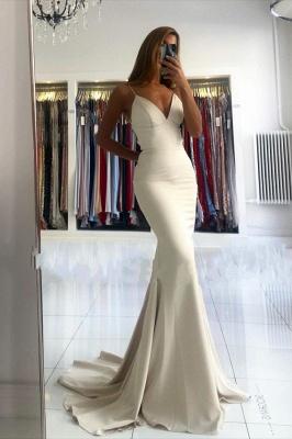 Spaghetti Strap V Neck Fitted Floor Length Mermaid Prom Dresses_1