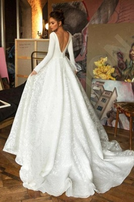 Elegant Long Sleeve V Neck A Line Wedding Dresses | Lace Wedding Gown_2