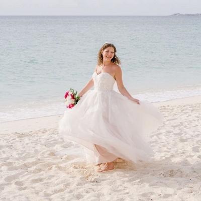 Sweetheart Sleeveless Applique A Line Boho Beach Wedding Dresses | Floor Length Bridal Gown_3