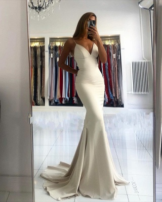 Spaghetti Strap V Neck Fitted Floor Length Mermaid Prom Dresses_2