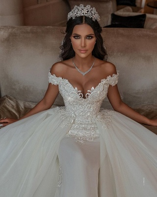 Stunning Sweetheart Off The Shoulder Crystal Sequin Applique Sheath Wedding dresses With Detachable Train_3