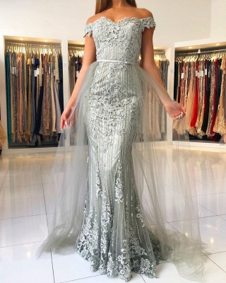 Elegant Sweetheart Off The Shoulder Backless  Applique Sash Floor Length Mermaid Prom Dresses_2