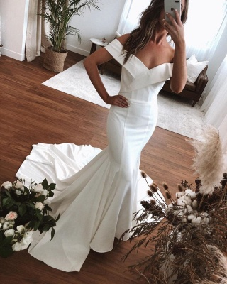 Sexy Off The Shoulder V Neck Pleates Mermaid Wedding Dresses_3