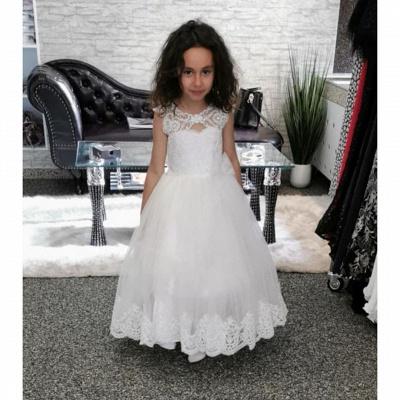 Lovely Jewel Cap Sleeve keyhole Back Applique A Line Flower Girl Dresses_2
