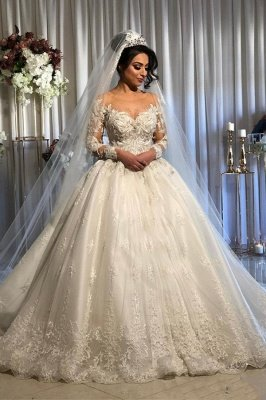 Jewel Lace Ball Gown Wedding Dresses with Long Sleeves_1