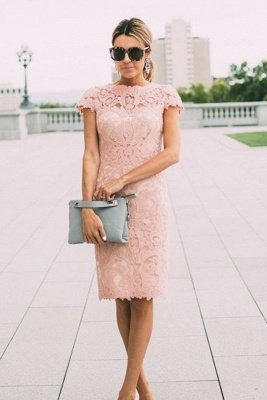 Sheath Blushing Pink Prom Dresses | Short Sleeves Lace Evening Gowns_2