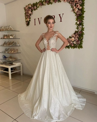 Elegant Sweetheart Cap Sleeve Applique Tulle Pleated A  Line Wedding Dresses_3