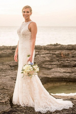 Classic Jewel Sleeveless Lace Sheath Wedding Dresses | Fitted Vintage Wedding Gown_1