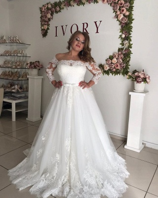 Long Sleeve Off The Shoulder A Line Pleated Tulle A Line Wedding Dresses_3