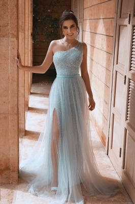 Sexy One Shoulder Sequin Side Slit  Tulle A Line Prom Dresses With Sash_1