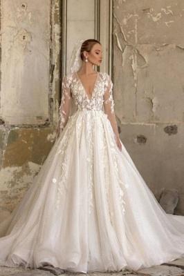 Alluring Deep V Neck Applique Pleats A Line Wedding Dresses | Floral Bridal Gown_1