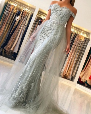 Elegant Sweetheart Off The Shoulder Backless  Applique Sash Floor Length Mermaid Prom Dresses_5