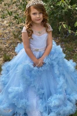 Cap Sleeve Jewel Ruffles Beaded Sash Ball Gown Flower Girl Dresses | Sky Blue Pageant  Dresses For Little Girl_1