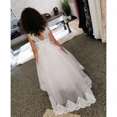 Lovely Jewel Cap Sleeve keyhole Back Applique A Line Flower Girl Dresses_4