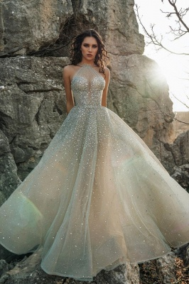 Sexy Halter Sleeveless Sequin Tulle A Line Floor Length Wedding Dress_1
