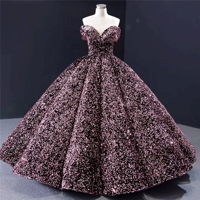 Sparkly Sweetheart Off the Shoulder Ball Gown Prom Dress   Dubai Luxury Bridal Gown_7