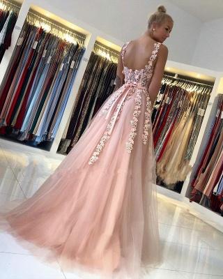 Spaghetti Strap Backless Applique Sash  Floor Length A Line Prom Dresses_3