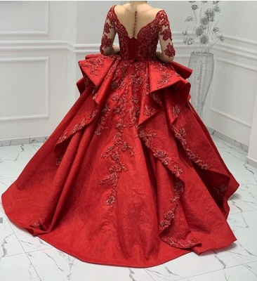 Stunning Red Jewel Long Sleeve Nude Sheer Back Embrodeiry Ruffles Ball Gown Prom Dresses_3