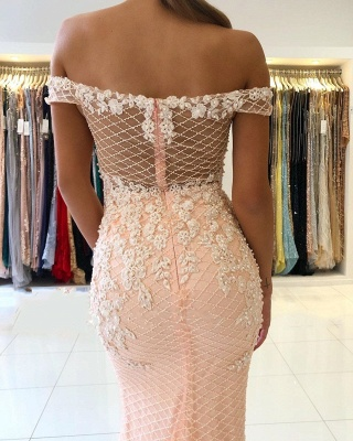 Off The Shoulder Sweetheart Floral Pearls Floor Length Mermaid Prom Dresses_4