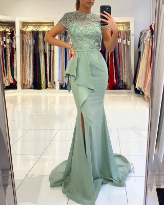 High Neck Short Sleeve Full Back Sash  Side Slit Applique Sheath Prom Dresses_2