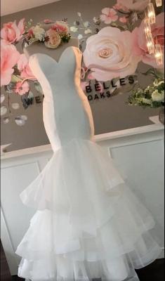 Sexy Sweeheart Tiered Ruffles Mermaid Floor Length Organza Wedding Dress_2