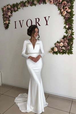 Elegant Long Sleeve Deep V Neck  Beaded Sash Mermaid Wedding dresses | Open Back Bridal Gown_1
