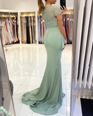 High Neck Short Sleeve Full Back Sash  Side Slit Applique Sheath Prom Dresses_3
