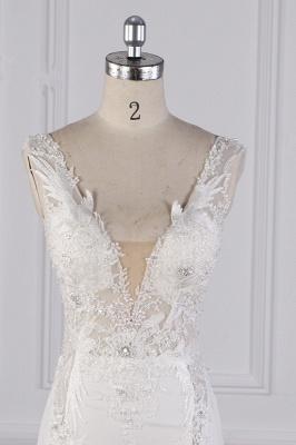 Elegant Sleeveless Ivory Satin Tulle Mermaid Wedding Dresses With Lace Appliques_3