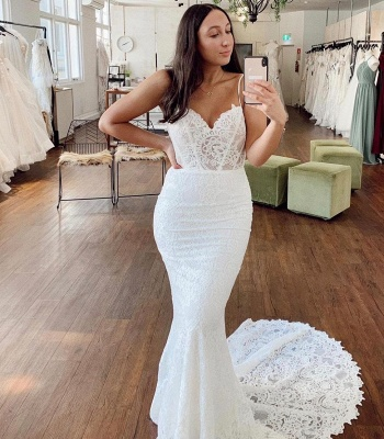 Spaghetti Strap Sweetheart Lace Fitted Mermaid Wedding Dresses_2