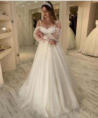 Elegant Jewel Long Sleeve Applique Floral Sequin A Line Wedding Dresses_2