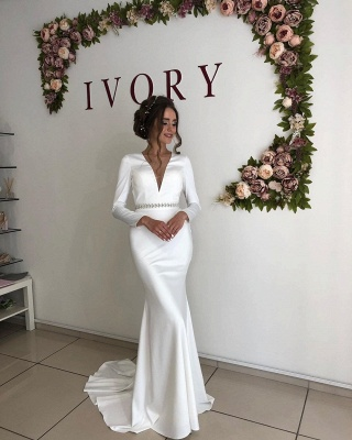 Elegant Long Sleeve Deep V Neck  Beaded Sash Mermaid Wedding dresses | Open Back Bridal Gown_3