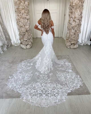 Unique Sweetheart Off The Shoulder Lace Mermaid Wedding Dresses_4