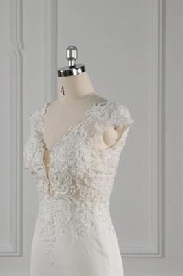 Elegant Ivory Chiffon V Neck Mermaid Wedding Dresses With Lace Appliques_6